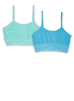 Girls 4-16 Two Pack of Lace Trimmed Cami Bras - BLUE - 6568054730230
