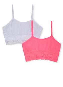 Girls 4-16 Lace Trimmed Cami Bra Set - 6568054730231