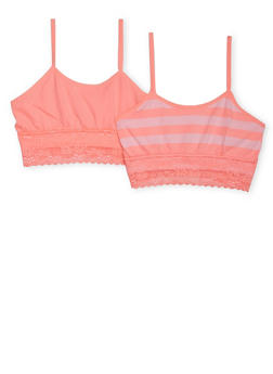 Girls 4-16 Two Pack of Lace Trimmed Cami Bras - 6568054730232