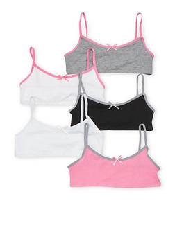 Girls 4-16 Set of 5 Contrast Trimmed Cami Bras - 6568054730260