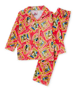 Girls 4-6x Printed Pajama Shirt and Pants Set - 6568054730300