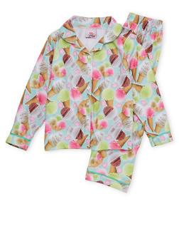 Girls 7-16 Pajama Set with Graphic Print - 6568054730301
