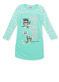 Girls 4-14 Graphic Pajama Gown with Fleece Sleeves - 6568054730304