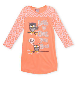 Girls 4-14 Graphic Pajama Gown with Fleece Sleeves - NEON ORANGE - 6568054730304