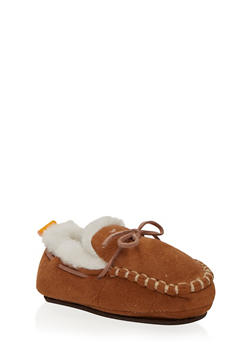 Baby Boy Moccasins in Faux Shearling - 6570017640001