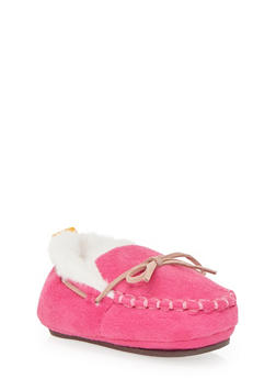 Baby Girl Moccasins with Faux Fur - 6570017640004