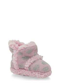 Baby Girl Knit Booties in Heart Pattern - 6570017640006