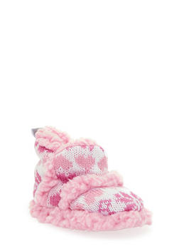 Baby Girl Knitted Booties with Snowflake Design - 6570017640007