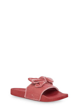 Girls 10-4 Velvet Bow Slides - 6570061120004