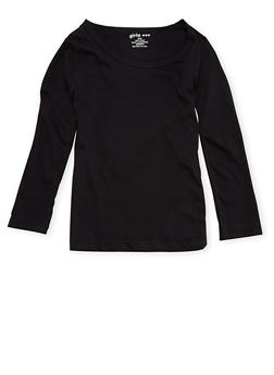 Girls 4-6x Long Sleeve Top in Black - 6603061950005