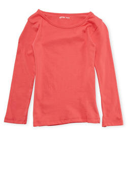 Girls 4-6x Long Sleeve Top in Coral - 6603061950006