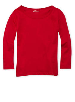 Girls 4-6x Red Crew Neck Top with Long Sleeves - 6603061950008