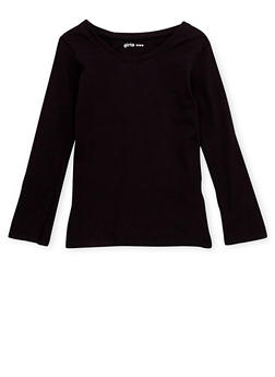 Girls 4-6x Long Sleeve Top with V Neck - 6603061950016