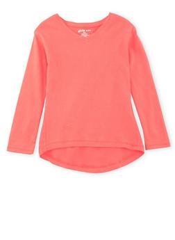 Girls 4-6x Long Sleeve Top with High Low Hem - 6603061950017