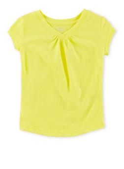 Girls 4-6x French Toast Shirred V Neck T Shirt - 6603068320046