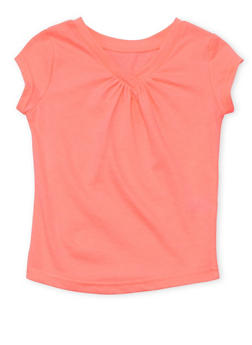 Girls 4-6x French Toast Neon Pink Shirred V Neck T Shirt - 6603068320050