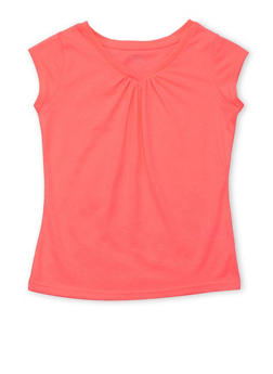 Girls 4-6x French Toast Pink V Neck Shirred Top - 6603068320051