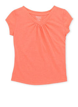 Girls 4-6x French Toast Coral V Neck T Shirt - 6603068320052