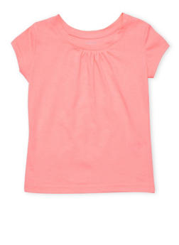 Girls 4-6x French Toast Neon Pink Shirred T Shirt - 6603068320053