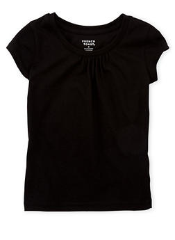 Girls 4-6x French Toast Black Shirred T Shirt - 6603068320067