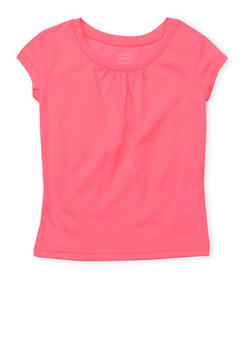 Girls 4-6x French Toast Neon Pink Shirred T Shirt - 6603068320068