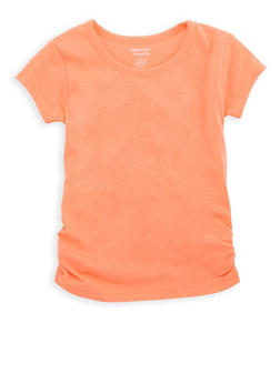 Girls 4-6x French Toast Crew Neck Top with Ruched Detail - 6603068320079