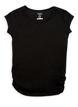 Girls 4-6x French Toast Black Crew Neck Top with Rouched Detail - 6603068320080