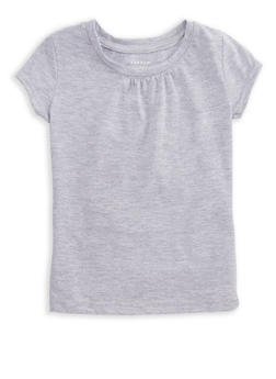 Girls 4-6x French Toast Solid Ruched Short Sleeve T Shirt - 6603068320085