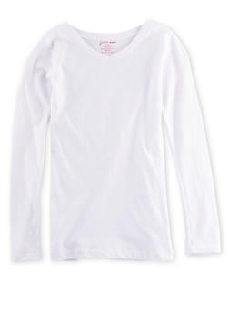 Girls 7-16 Long Sleeve Top with Ruched Sides - 6604061950017