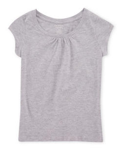 Girls 7-16 French Toast Gray Shirred T Shirt - 6604068320011