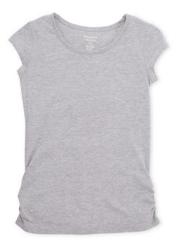 Girls 7-16 French Toast Crew Neck Tee with Ruched Sides - 6604068320031