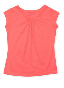 Girls 7-16 French Toast Neon Pink V Neck T Shirt - 6604068320053
