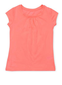 Girls 7-16 French Toast Neon Pink Shirred T Shirt - 6604068320056