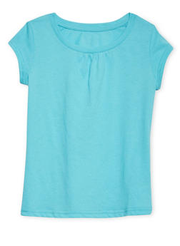 Girls 7-16 French Toast Turquoise Shirred T Shirt - 6604068320062