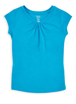 Girls 7-16 French Toast Blue Shirred T Shirt - 6604068320074