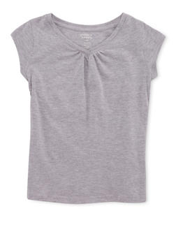Girls 7-16 French Toast Gray Shirred T Shirt - 6604068320079