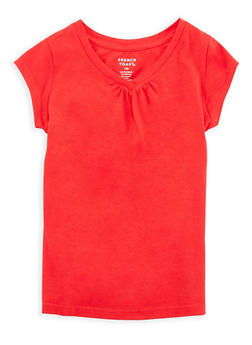 Girls 7-16 French Toast Red Shirred T Shirt - 6604068320082