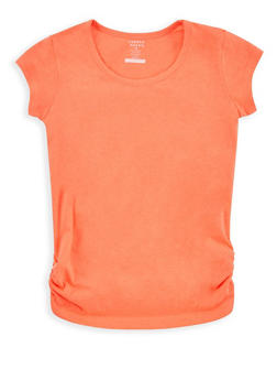 Girls 7-16 French Toast Orange Ruched Side T Shirt - 6604068320084