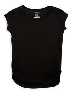 Girls 7-16 French Toast Crew Neck Tee with Shirred Detail - 6604068320085