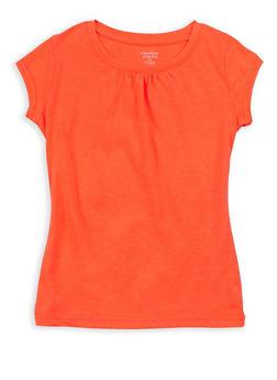 Girls 7-16 French Toast Orange Shirred T Shirt - 6604068320089