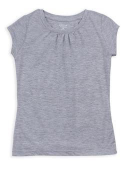 Girls 7-16 French Toast Heather Shirred T Shirt - 6604068320090