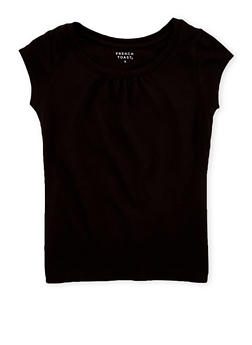Girls 7-16 French Toast Black Shirred T Shirt - 6604068320091