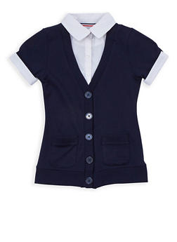 Girls 7-16 Short Sleeve Cardigan Blouse School Uniform - 6905008930009