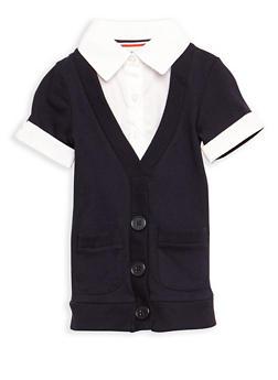 Girls 2T-4T Short Sleeve Cardigan Blouse School Uniform - 6953008930001
