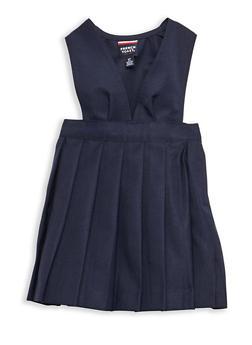 Girls 2T-4T V Neck Pleated Jumper School Uniform - 6963008930002