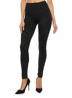 Printed Burnout Fleece Lined Leggings - 7069001440149