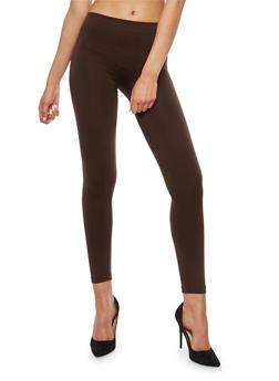 Brown Fleece Lined Leggings - 7069001440767