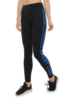Sport Graphic Fleece Lined Leggings - 7069041450131
