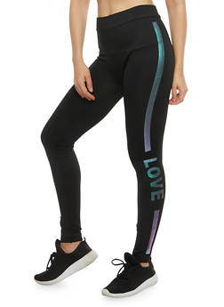 Love Iridescent Graphic Leggings - 7069041450138