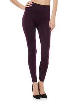 Fleece Lined Leggings with Popcorn Knit Waist - 7069041450222